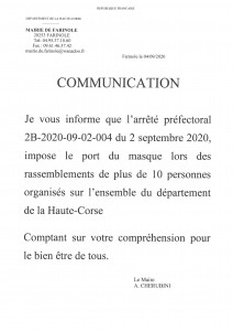 COMMUNICATION DU MAIRE